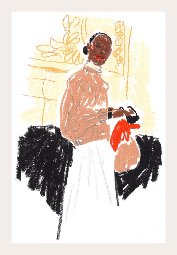 Exclusive to Paris Fashion Week: Damien Florébert Cuypers's quick illustrations of the fashion set. #SS2013 Who: Shala Monroque Show: Rochas  Mood: Keeping it classy. Look: Channeling serious '80s elegance.