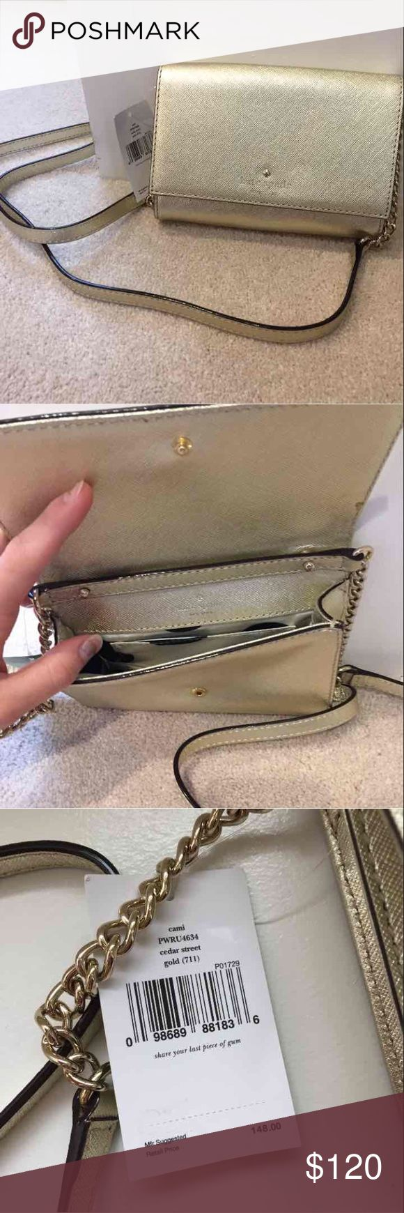 Kate Spade Cami Crossbody Brand new with tags Cami Crossbody by Kate Spade in Metallic Gold. Retail price $148. Last photo is a stock photo for refererence. This bag is perfect for weddings and special events, or going out and just want to carry a few things. kate spade Bags