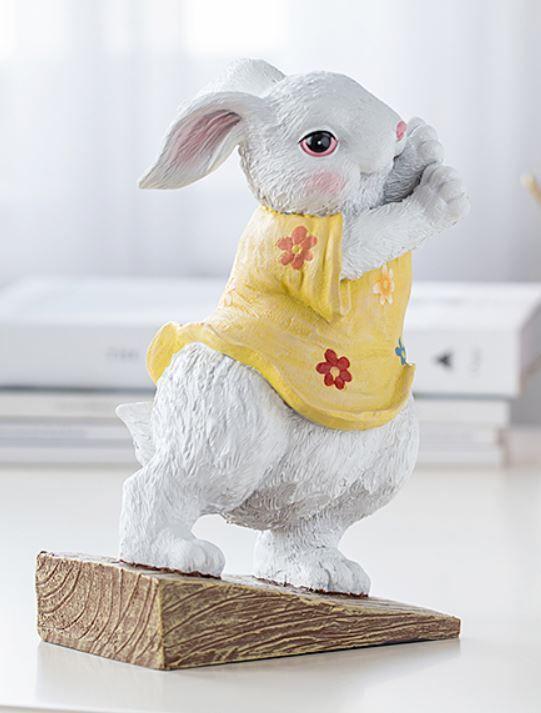 ドアストッパー かわいいウサギ 力持ち おしゃれな洋服 黄色の花柄