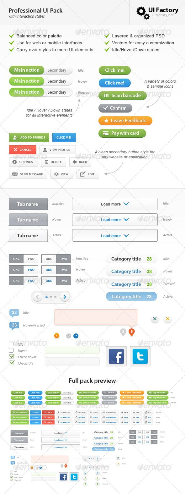 Professional Comprehensive UI Pack - #User Interfaces #Web Elements Download here: https://graphicriver.net/item/professional-comprehensive-ui-pack/721188?ref=alena994