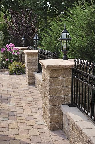 Stone Block Fence : Estate retaining wall block pillar cap specifically made