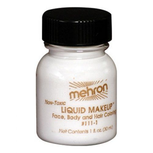 Mehron Liquid Face Paints - White W (1 oz) by Mehron. $4.71. Mehron Liquid Face paint is water based and can be applied with a brush, sponge or an airbrush.. Each 1 ounce bottle comes with its own applicator brush.. Perfect for full body painting or for getting things moving quickly with crowds at events and carnivals.. Each 1 ounce bottle of Mehron White Liquid Face Paint will work for 20-70 applications.. Mehron face paints are made with FDA approve ingredients and are safe ...