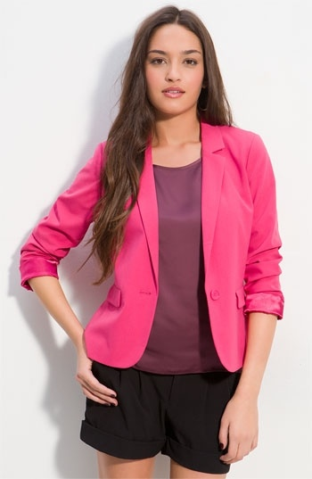 note to self..get a pink blazer: Light Pink Blazers, Hot Pink Blazers, Bright Pink, Chic, Pink Beautiful, Beautiful Skirts, Blazers Obsession, Buttons Blazers, Blazers Junior