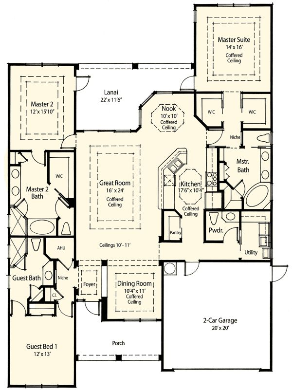 44 best images about dual master suites house plans on for Ranch house plans with 2 master suites