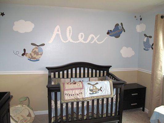 decora con aviones la habitacin del beb