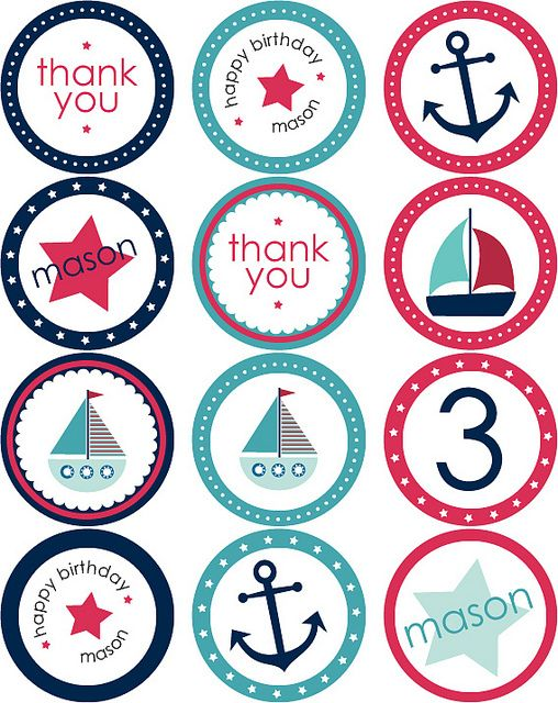 Nautical Party Stickers + Cupcake Toppers by blush printables, via Flickr
