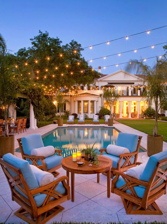 Pool Design | Backyard Landscape | String Lights | Patio Lighting | Globe Bulbs | Lighting Ideas