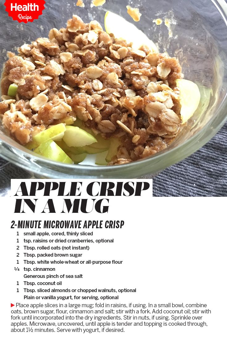 Delicious, healthy dessert in a minute and a half? Yes please! How to make apple crisp in a mug. | Health.com
