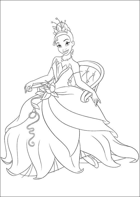 Princess Tiana Sitting Coloring Pages