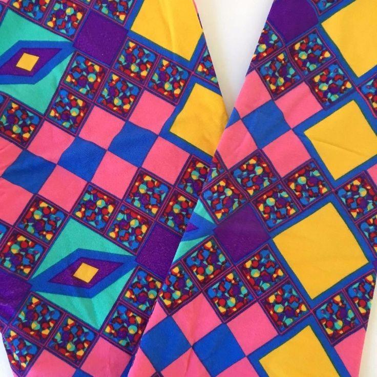Lularoe Leggings OS 0-12  Multi-color Squares Blue Pink Yellow Turquoise #Lularoe