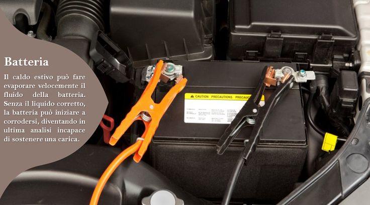Pulisci la Batteria delle tua Auto  Il caldo estivo può accelerare la reazione chimica all'interno di una batteria, provocando un sovraccarico  e la riduzione della durata della batteria. Stacca regolarmente i cavi della batteria e pulisci i terminali e assicurati che la batteria sia fissata con forza e che tutti i collegamenti siano saldi.  #pneumaticiallweather