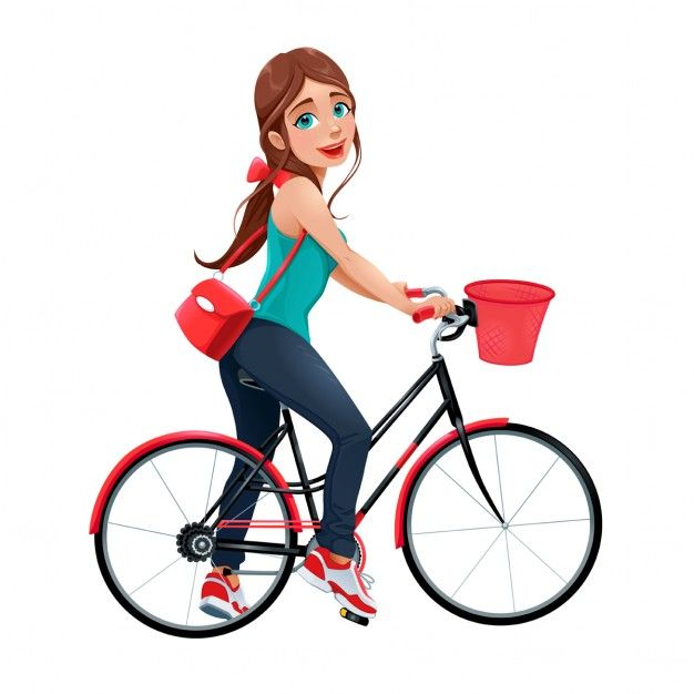 A young girl on a bicycle Free Vector