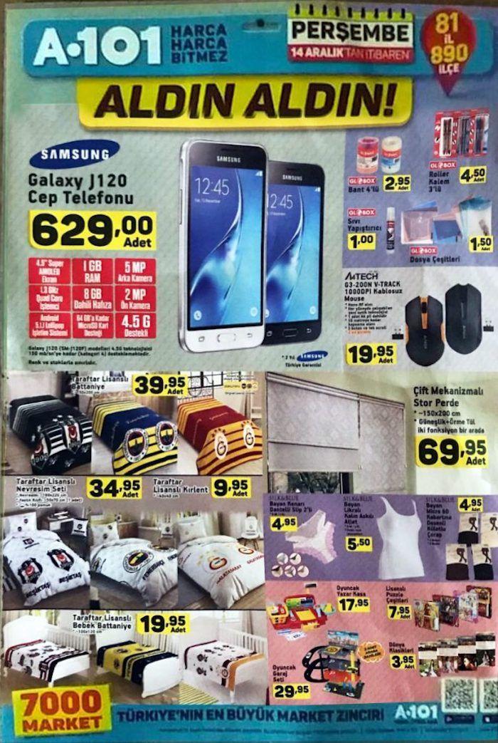 A101 Perşembe kampanyaları sürüyor. A101 aktüel ürünlerde14 Aralık - 21 Aralık 2017 tarihleri arasında geçerli olacak fırsatları aşağıdaki kampanya kataloğunda inceleyebilirsiniz. A101'de bu hafta muhteşem ürünler satışta. Samsung J120 cep telefonu 629 TL fiyatla satılacak. A101 cep telefonlarında taksitle satış yok. Yasa gereği hiçbir telefonda taksitli satış yok. Kışa özel lisanslı battaniyeler 40 TL, bebek battaniyeleri 20 TL fiyatlarla satılacak. Demonte olarak gardırop 200 TL, kitap...