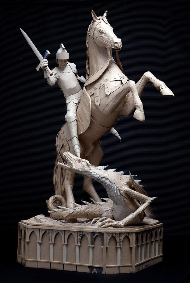 Cardboard art: 9m replica of St George and a dragon- by Chris Gilmour, Italy-based British artist