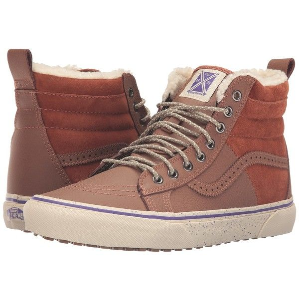 Vans SK8-Hi 46 MTE ((Hana Beaman) Brown/Angora) Skate Shoes ($90) ❤ liked on Polyvore featuring shoes, sneakers, brown skate shoes, brown sneakers, brown shoes, brown high top sneakers and brown cap toe shoes