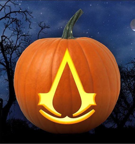 Assassin creed emblem pumpkin carving pattern stencil by