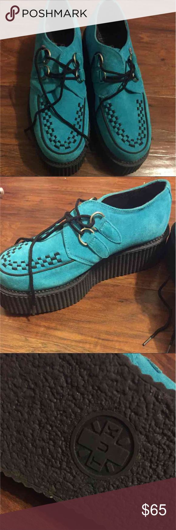 Size 10 Blue Suede Creepers Like new worn twice tuk Shoes Platforms