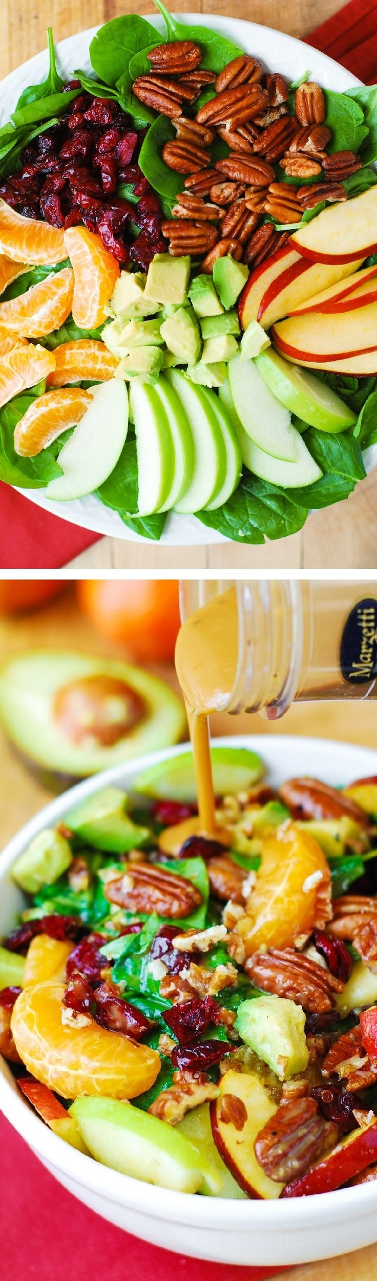 Apple Cranberry Spinach Salad Recipe.  Ingredients include Pecans, Avocados (and Balsamic Vinaigrette Dressing) - delicious, healthy, vegetarian, gluten free recipe! #Marzetti #BH #sponsored