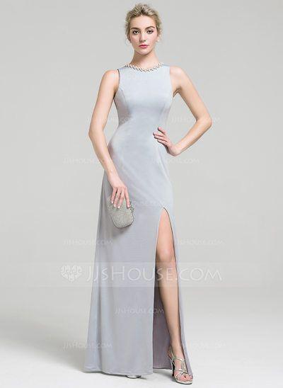 [€ 106.63] Vestido tubo Escote redondo Hasta el suelo Jersey Vestido de noche con Cuentas Lentejuelas Apertura frontal (017093465)