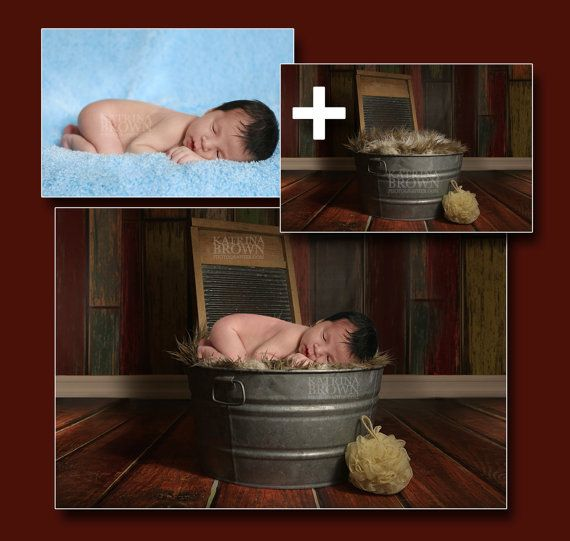 Washtub Baby Digital Backgrounds for Infant by HootieHooDesigns
