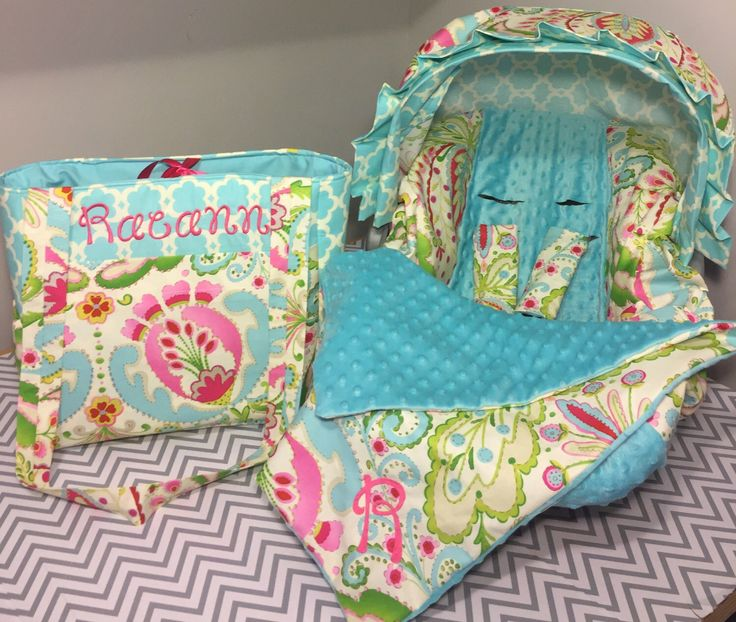 On The Go Set Made With Kumari Gardens Floral Fabric Infant Car Seat Cover Visor And Diaper Bag Free Monogram Blankie Too Aqua