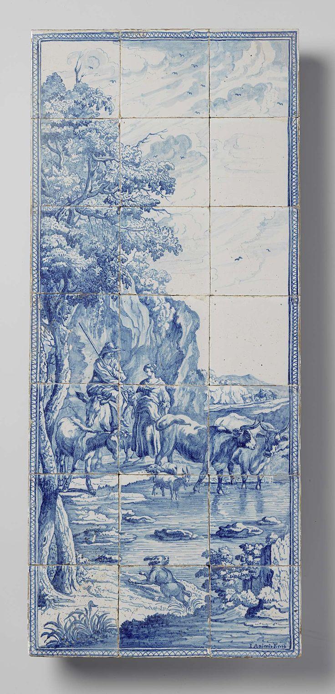 De Bloempot | Tegeltableau van met pastorale voorstelling en signatuur: I. AALMIS P. 1778, De Bloempot, 1778 | Tegeltableau van eenentwintig tegels (7 x 3) met een blauw geschilderde pastorale voorstelling van een herderspaar met hun vee bij een plas water. Links twee bomen en op de voorgrond een hond. Rechts onder, de signatuur: I. Aalmis P. 1778.