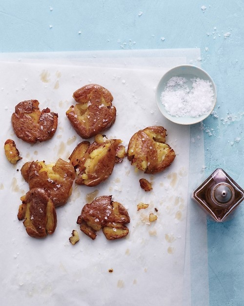 Salt 'n' Vinegar Roasted Potatoes - It's fun to smash these spuds before baking them until crisp and golden.