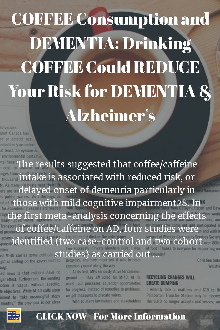 COFFEE Consumption and DEMENTIA: Drinking COFFEE Could REDUCE Your Risk for DEMENTIA & Alzheimer's - The results suggested that coffee/caffeine intake is associated with reduced risk, or delayed onset of dementia particularly in those with mild cognitive impairment28. In the first meta-analysis concerning the effects of coffee/caffeine on AD, four studies were identified (two case-control and two cohort studies) as carried out ...