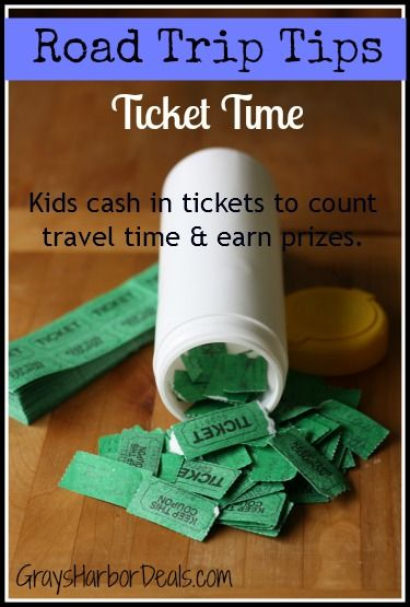 "Road Trip Tips - Ticket Time - kids cash in tickets to count travel time, earn prizes and avoid saying ""Are we there yet?""  #roadtriptips #frugalfamilyfun #travel #tickettime #arewethereyet"
