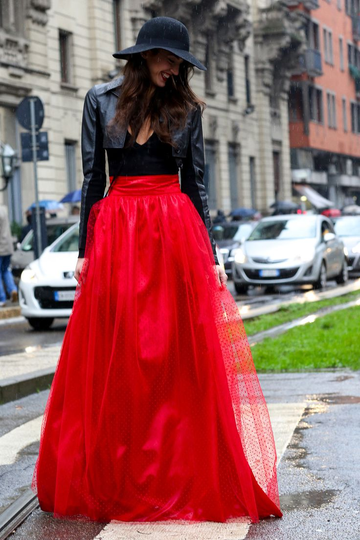 For Fashion Week, you're never overdressed, even in a floor-length skirt. Milan Fashion Week Street Style #MFW