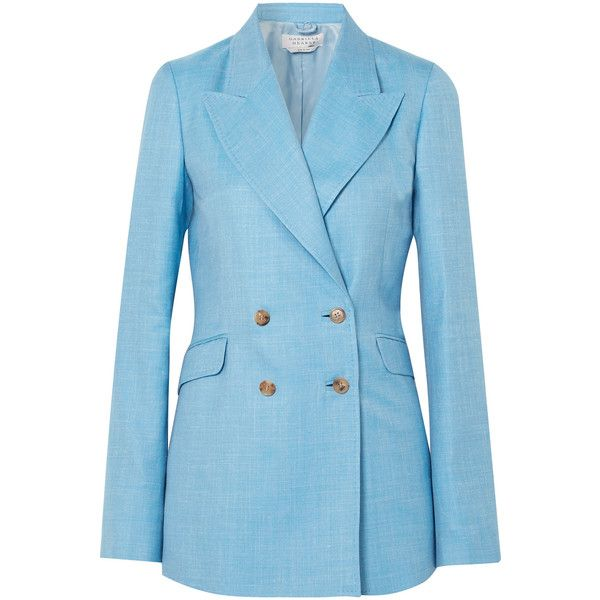 Gabriela Hearst Angela double-breasted wool, silk and linen-blend... (98.485 RUB) via Polyvore featuring outerwear, jackets, blazers, blazer, wool jacket, polka dot blazer, blazer jacket, light blue blazer и silk blazer