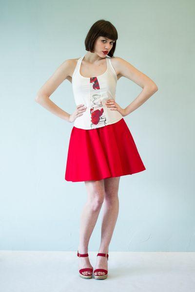 2. Midiröcke - Roten Anzug Rock aus Stretch-Bio-Baumwolle - ein Designerstück von EROSetAGAPE bei DaWanda