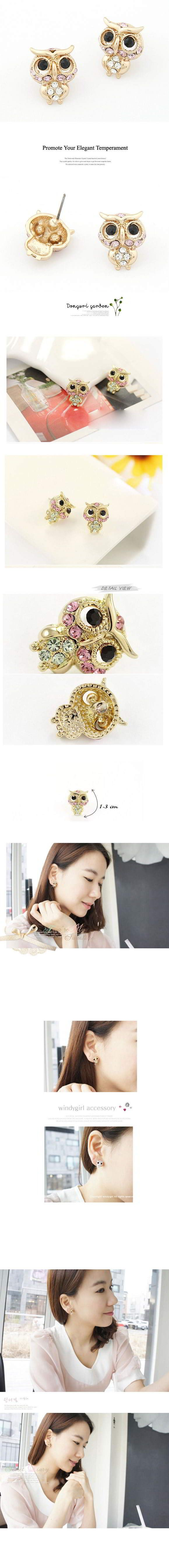 Korean Exquisite Fashion OWL Decorated With CZ Diamond Studs Earrings General.  Fashionable with passion REPIN if you like it.😊 Only 38.5 IDR