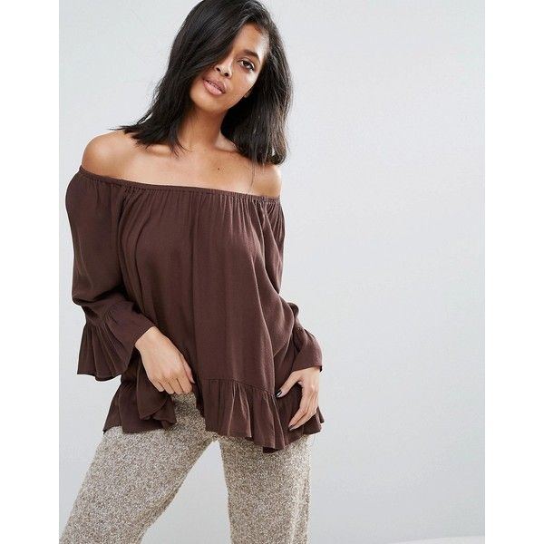 Minimum Off The Shoulder Floaty Bardot Top ($37) ❤ liked on Polyvore featuring tops, brown, woven top, viscose top, off shoulder tops, rayon tops and brown top