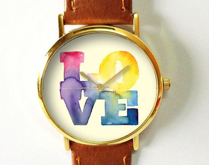 Love Watercolor Watch , Vintage Style Leather Watch, Women Watches, Boyfriend Watch, Handmade Watch, Girlfriend Gift, Gift for Her, Summer