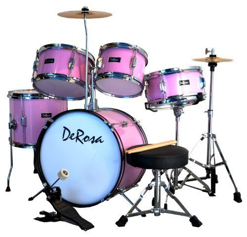 De Rosa DRM516-PK 5-Piece Drum Set (Pink) by De Rosa. $181.39. This De Rosa 5-piece Junior Drum Set is a complete real drum set designed for your little up-and-coming drummer! It features floor-based hi-hat cymbal stand, metal parts and real wood shells - a very durable set that holds up under your child's playing. Kids love kids drums! Depending on your budget, your child can start with either a 3 or 5-piece drum set. If you're planning drum lessons for your child,...