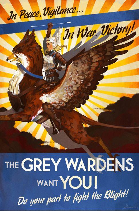 Dragon Age - Grey Warden propaganda poster, by xfreischutz: