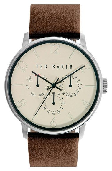 Ted Baker London Multifunction Leather Strap Watch, 42mm available at #Ted #Baker