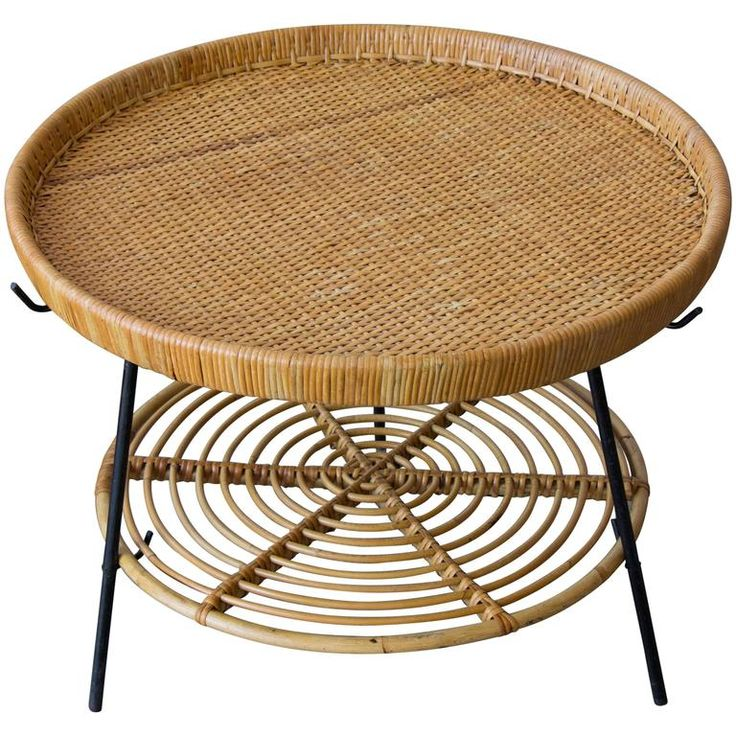 Rattan Two-Tier Tray Table with Wrought Iron Legs | From a unique collection of antique and modern tray tables at https://www.1stdibs.com/furniture/tables/tray-tables/
