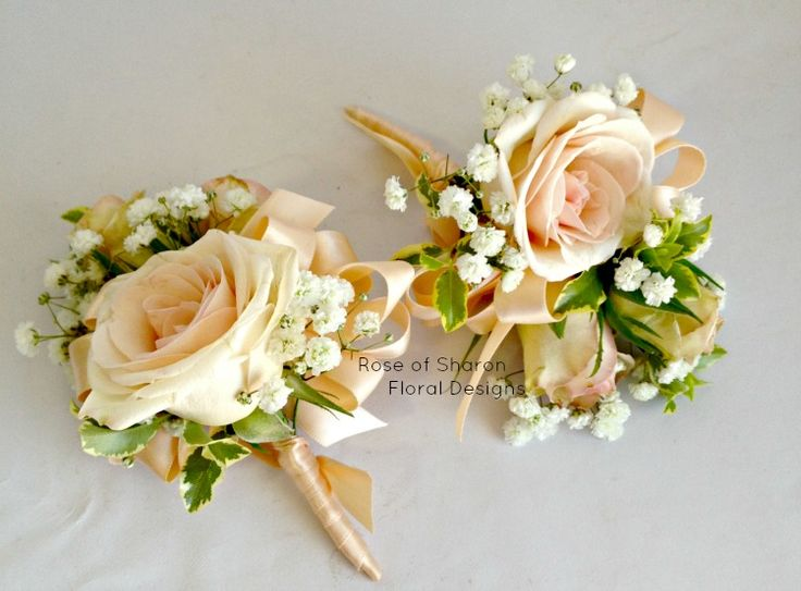 Porcelina spray rose boutonniere and corsage with baby's breath (inspiration. no filler will be used.)