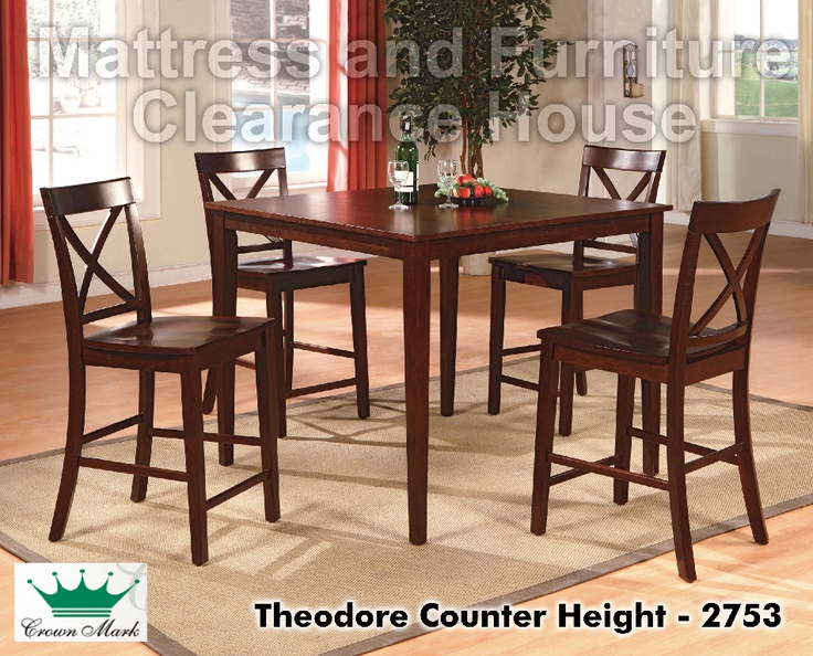 Theodore 5 Piece Counter Height Table Set With 4 Crossback Chairs By Crown Mark