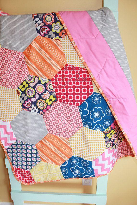 Modern Baby QUILT blanket by PETUNIAS - geometric hexagon blanket nursery decor vintage newborn shower gift room crib bedding on Etsy, $189.00