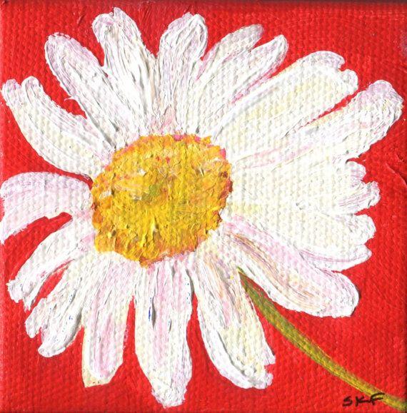 Acrylique peinture art toile, mini chevalet, petit art floral, marguerites, peinture, fleurs sur toile, peinture de marguerites Shasta fleurs art