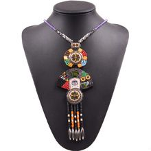 Bead Tassel Vintage Tibetan Colorful Charm Totem Pendant Long Necklace For Women Popular jewelry Christmas Gifts Wholesale(China (Mainland))