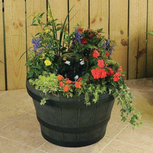 Gardenique Old Tyme Whiskey Barrel Planter Fountain