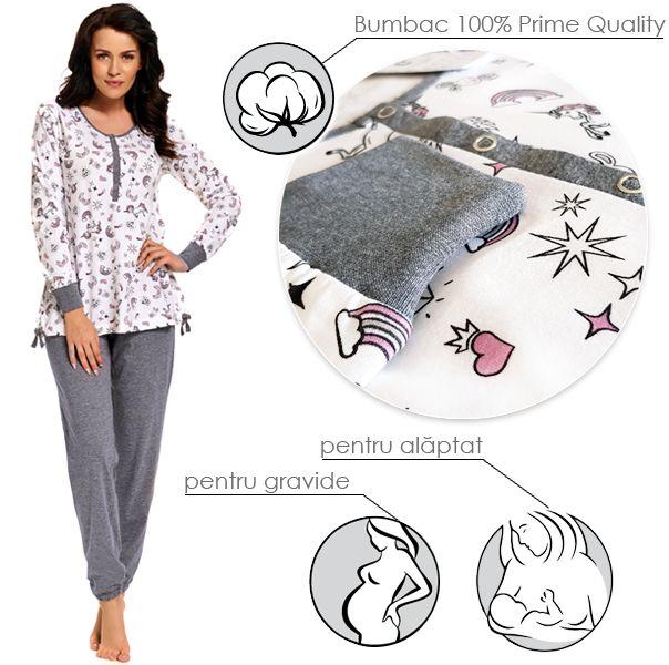 Pijamale gravide din bumbac 100%