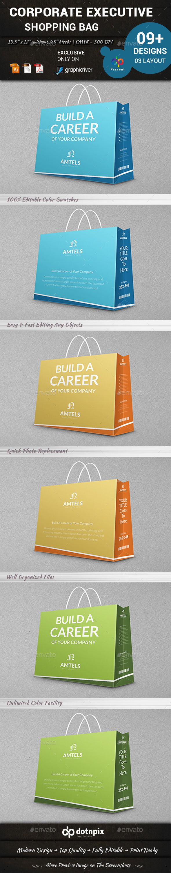 Corporate Executive Shopping Bag - #Packaging Print Templates Download here: https://graphicriver.net/item/corporate-executive-shopping-bag/10992029?ref=alena994