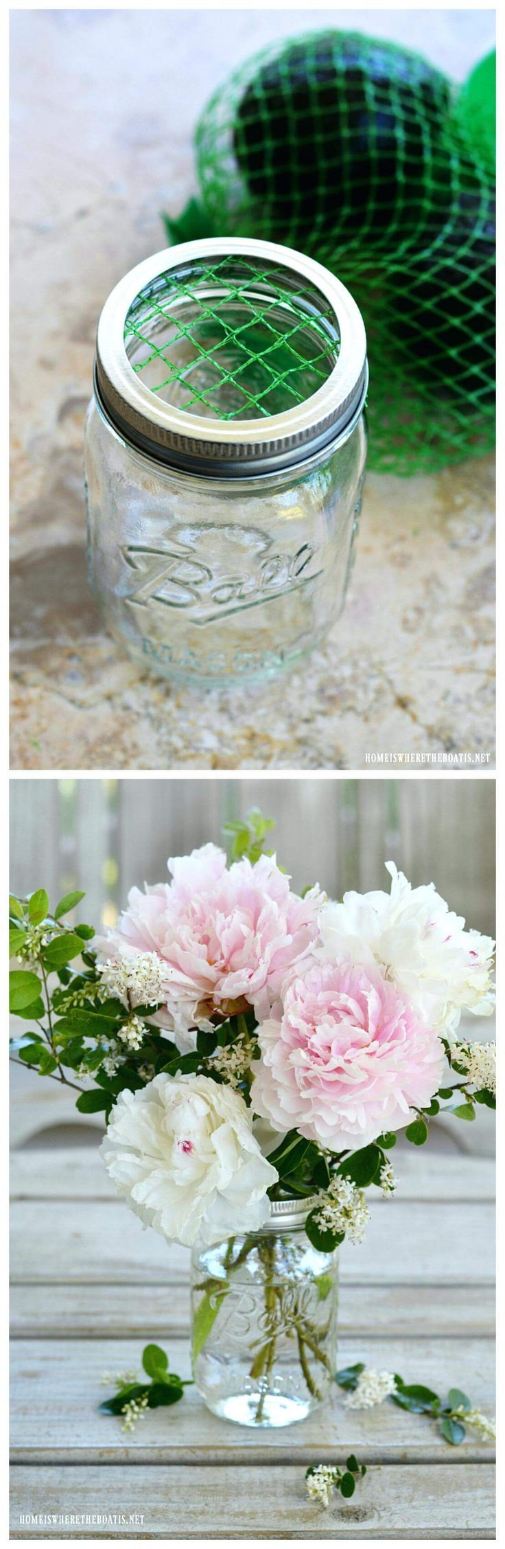 Use Vegetable Bags to Hold Flowers Upright