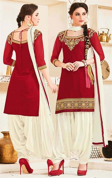 Picture of Charismatic Red and White Patiala Salwar Suit