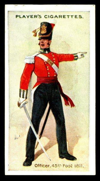 1811   Officer, 45th Foot, British. Cigarette Card. suzilove.com